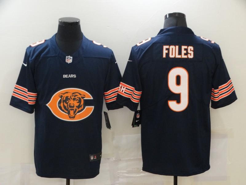 Men's Chicago Bears #9 Nick Foles Navy Blue 2020 Big Logo Vapor Untouchable Stitched NFL Nike Fashion Limited Jersey