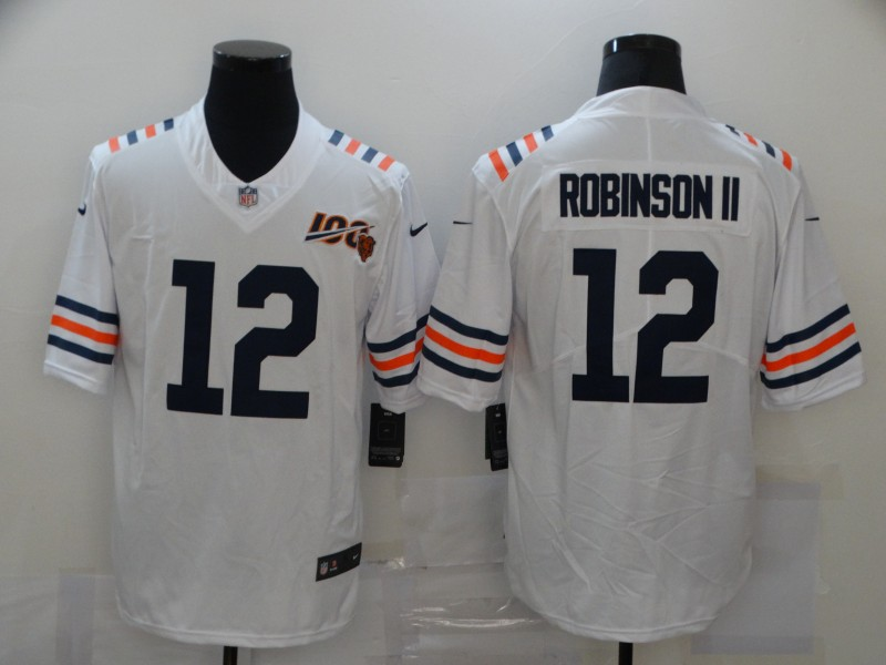 Men's Chicago Bears #12 Allen Robinson II White 2019 100th seasons Patch Vapor Untouchable Stitched NFL Nike Alternate Classic Limited Jersey