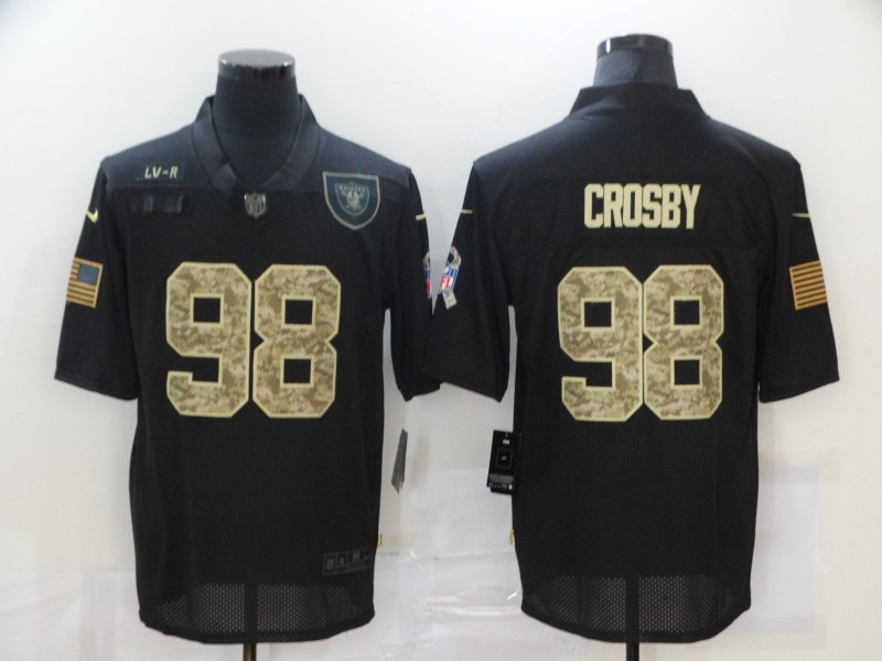 Men's Las Vegas Raiders #98 Maxx Crosby Black Camo 2020 Salute To Service Stitched NFL Nike Limited Jersey