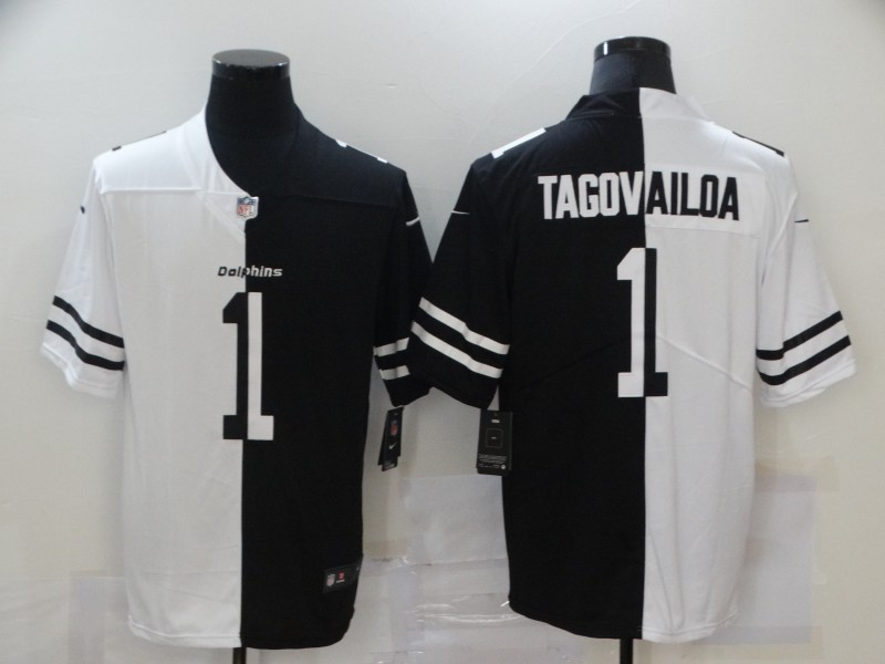 Men's Miami Dolphins #1 Tua Tagovailoa White Black Peaceful Coexisting 2020 Vapor Untouchable Stitched NFL Nike Limited Jersey