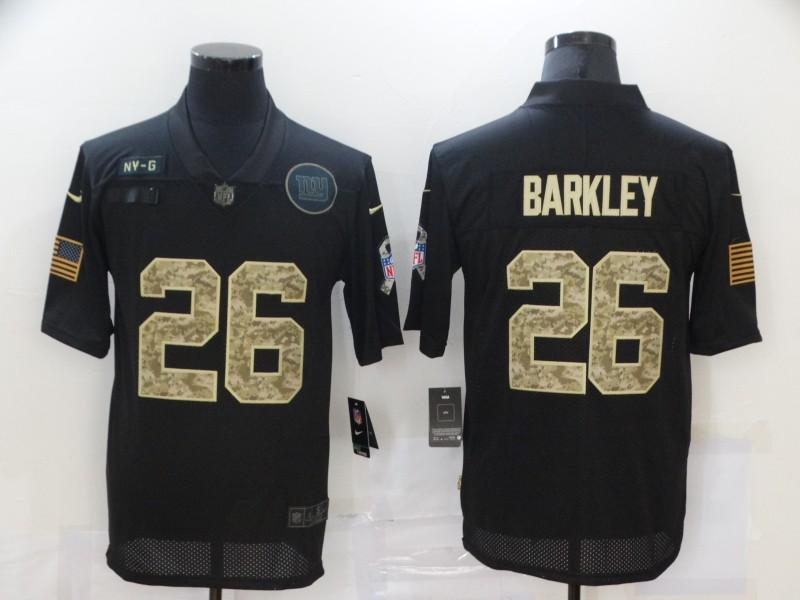 Men's New York Giants #26 Saquon Barkley Black Camo 2020 Salute To Service Stitched NFL Nike Limited Jersey