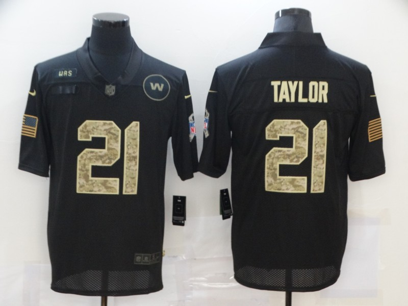 Men's Washington Redskins #21 Sean Taylor Black Camo 2020 Salute To Service Stitched NFL Nike Limited Jersey