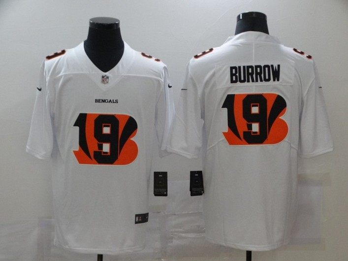 Men's Cincinnati Bengals #9 Joe Burrow White 2020 Shadow Logo Vapor Untouchable Stitched NFL Nike Limited Jersey