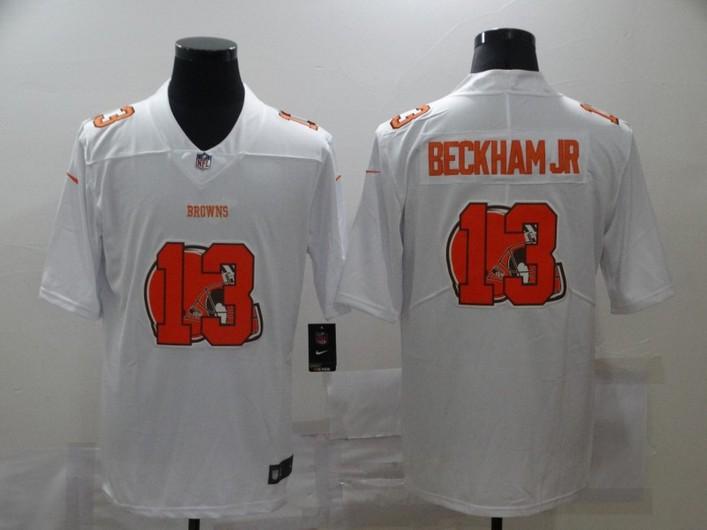 Men's Cleveland Browns #13 Odell Beckham Jr White 2020 Shadow Logo Vapor Untouchable Stitched NFL Nike Limited Jersey