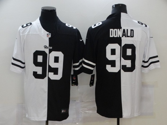 Men's Los Angeles Rams #99 Aaron Donald White Black Peaceful Coexisting 2020 Vapor Untouchable Stitched NFL Nike Limited Jersey