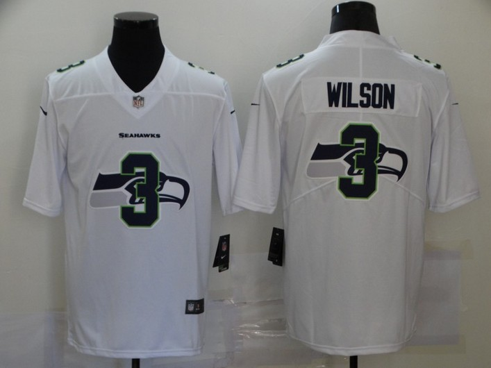 Men's Seattle Seahawks #3 Russell Wilson White 2020 Shadow Logo Vapor Untouchable Stitched NFL Nike Limited Jersey
