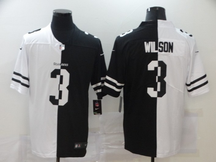 Men's Seattle Seahawks #3 Russell Wilson White Black Peaceful Coexisting 2020 Vapor Untouchable Stitched NFL Nike Limited Jersey