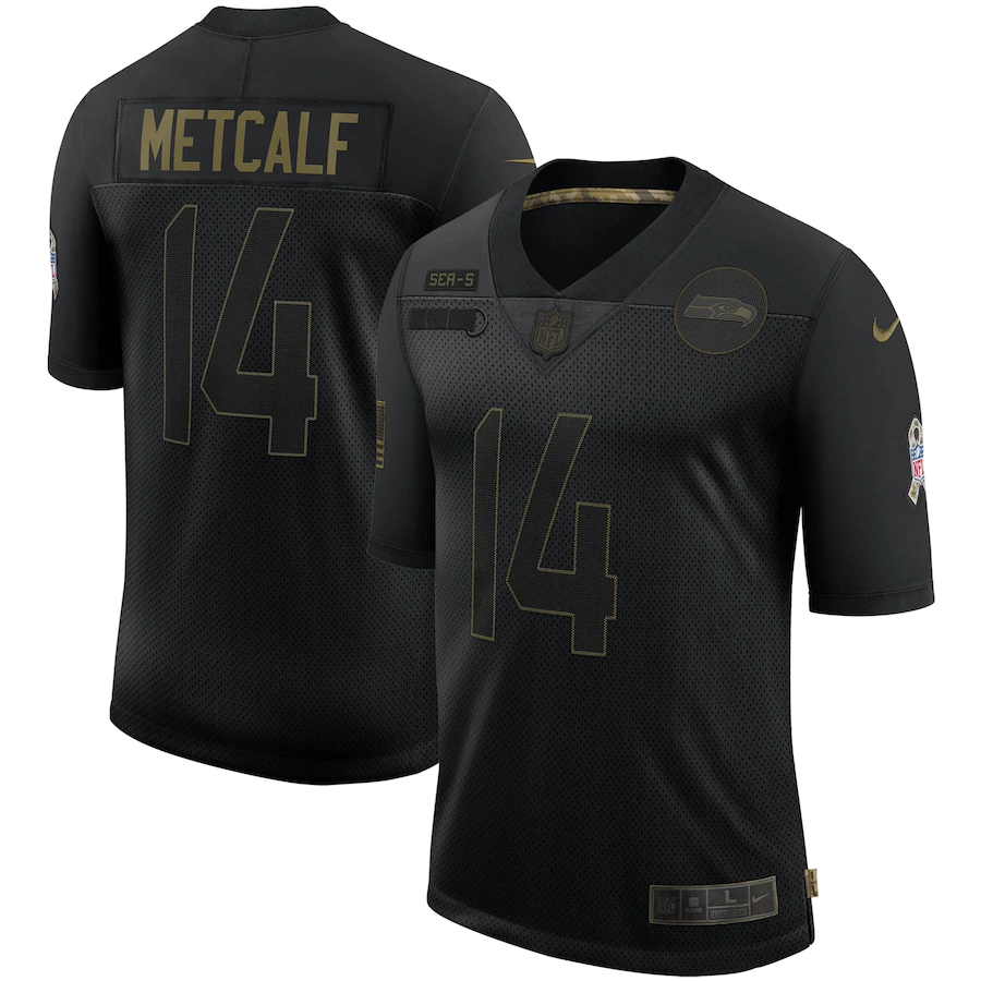 Nike Seahawks 14 DK Metcalf Black 2020 Salute To Service Limited Jersey