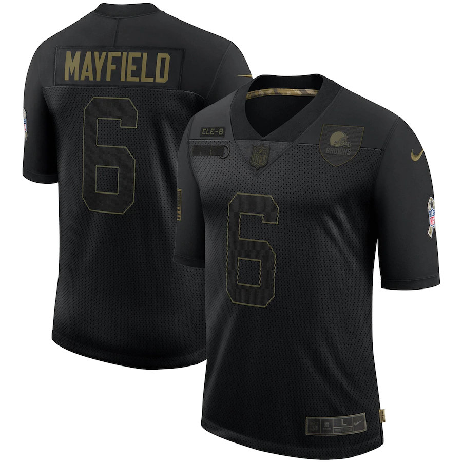 Nike Browns 6 Baker Mayfield Black 2020 Salute To Service Limited Jersey