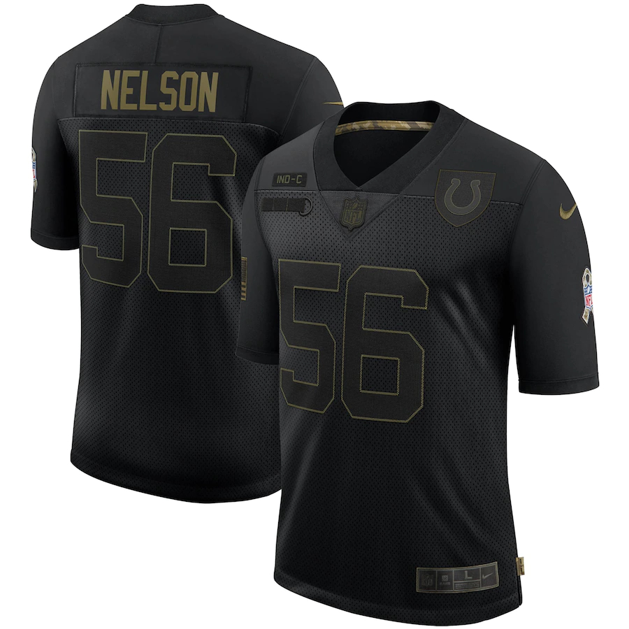 Nike Colts 56 Quenton Nelson Black 2020 Salute To Service Limited Jersey