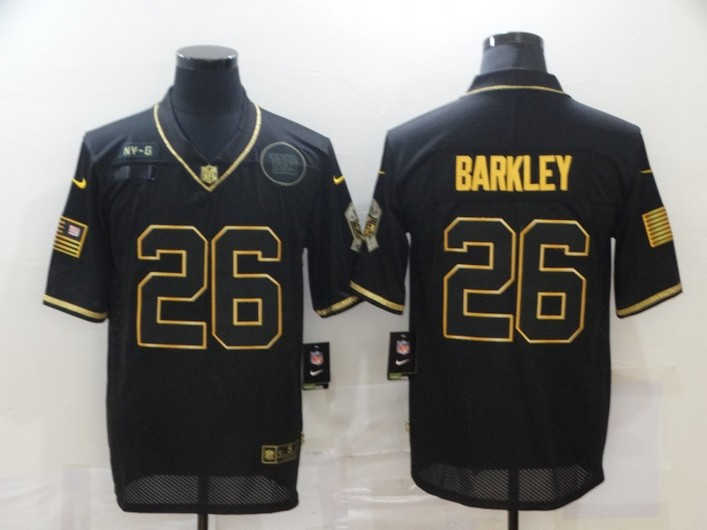Men's New York Giants #26 Saquon Barkley Black Gold 2020 Salute To Service Stitched NFL Nike Limited Jersey