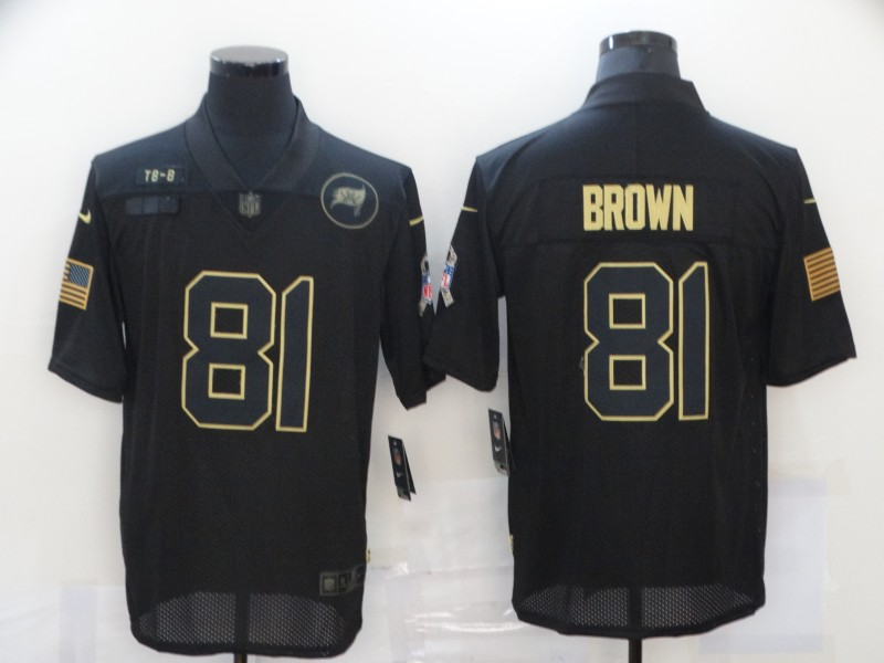 Men's Tampa Bay Buccaneers #81 Antonio Brown Black 2020 Salute To Service Stitched NFL Nike Limited Jersey