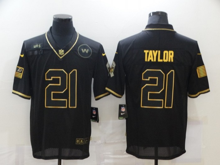 Men's Washington Redskins #21 Sean Taylor Black Gold 2020 Salute To Service Stitched NFL Nike Limited Jersey
