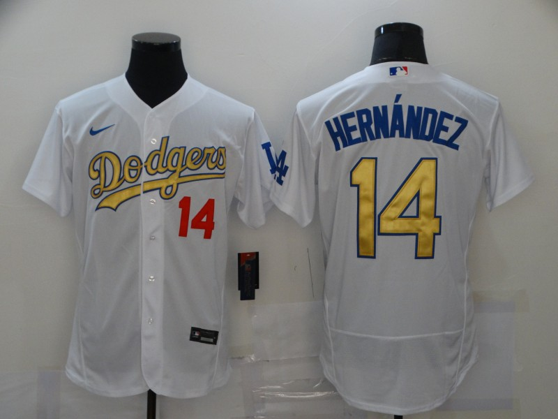 Men's Los Angeles Dodgers #14 Enrique Hernandez White Gold Sttiched Nike MLB Flex Base Jersey