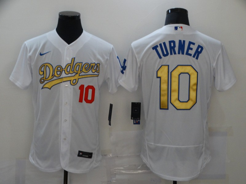 Men's Los Angeles Dodgers #10 Justin Turner White Gold Sttiched Nike MLB Flex Base Jersey