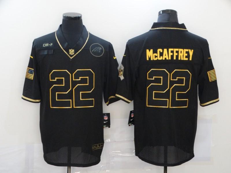 Men's Carolina Panthers #22 Christian McCaffrey Black Gold 2020 Salute To Service Stitched NFL Nike Limited Jersey
