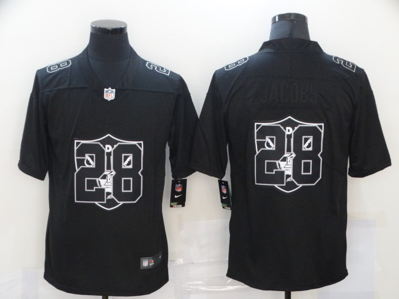 Men's Las Vegas Raiders #28 Josh Jacobs Black 2020 Shadow Logo Vapor Untouchable Stitched NFL Nike Limited Jersey