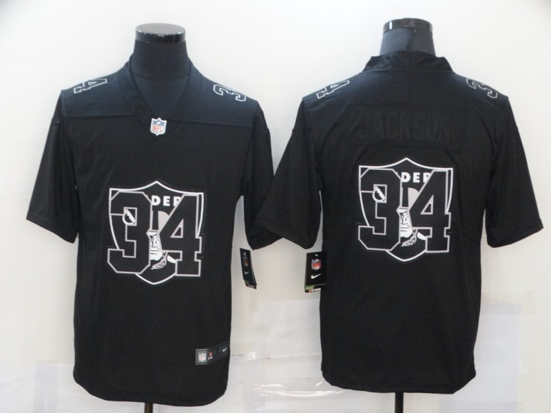 Men's Las Vegas Raiders #34 Bo Jackson Black 2020 Shadow Logo Vapor Untouchable Stitched NFL Nike Limited Jersey