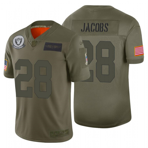 Men's Oakland Raiders #28 Josh Jacobs 2019 Camo Salute To Service Limited Stitched NFL Jersey