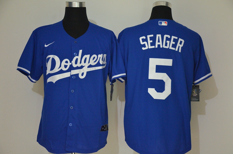 Men's Los Angeles Dodgers #5 Corey Seager Blue Stitched MLB Cool Base Nike Jersey