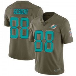 Men's Miami Dolphins #88 Mike Gesicki Limited Green 2017 Salute to Service Jersey