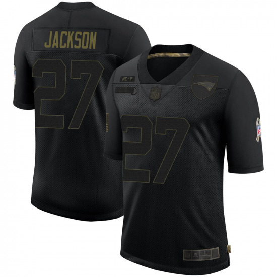 Men's New England Patriots #27 J.C. Jackson Limited 2020 Salute To Service Black Jersey