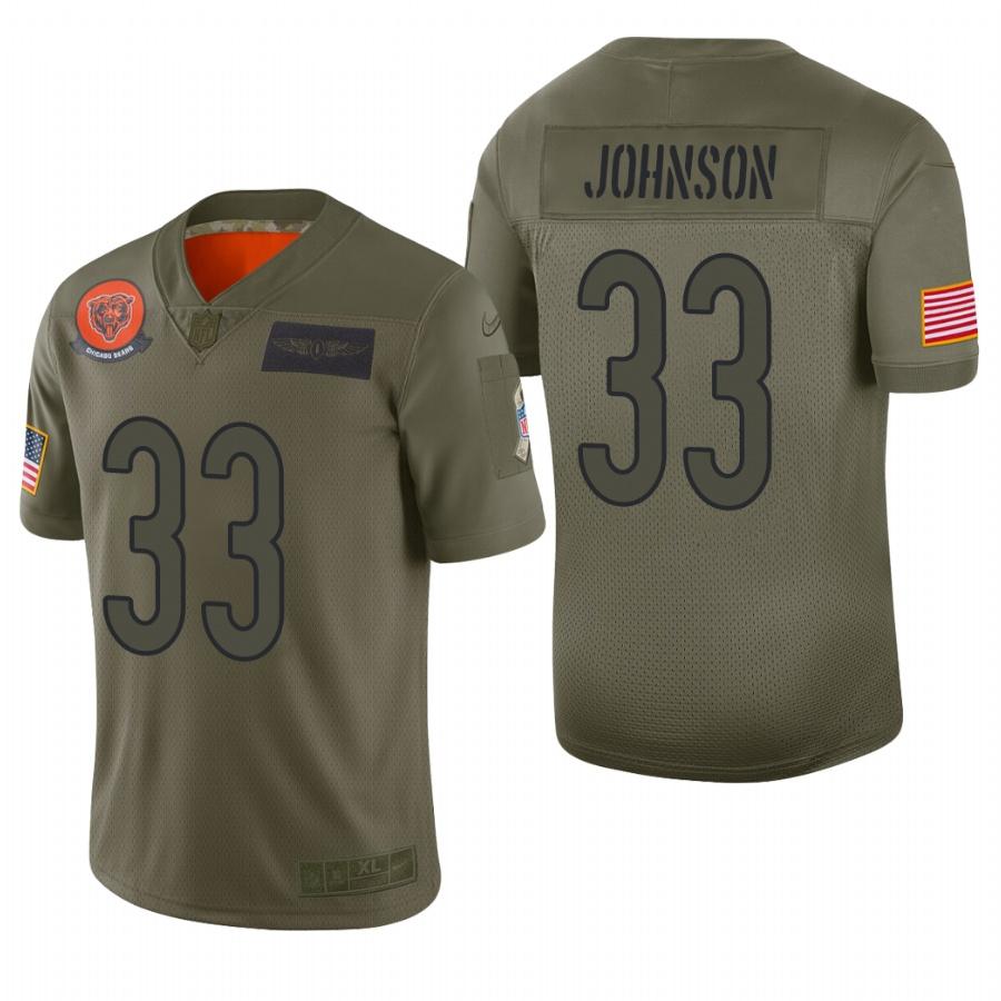 Men's Chicago Bears #33 Jaylon Johnson Olive 2019 Salute to Service Limited Jersey