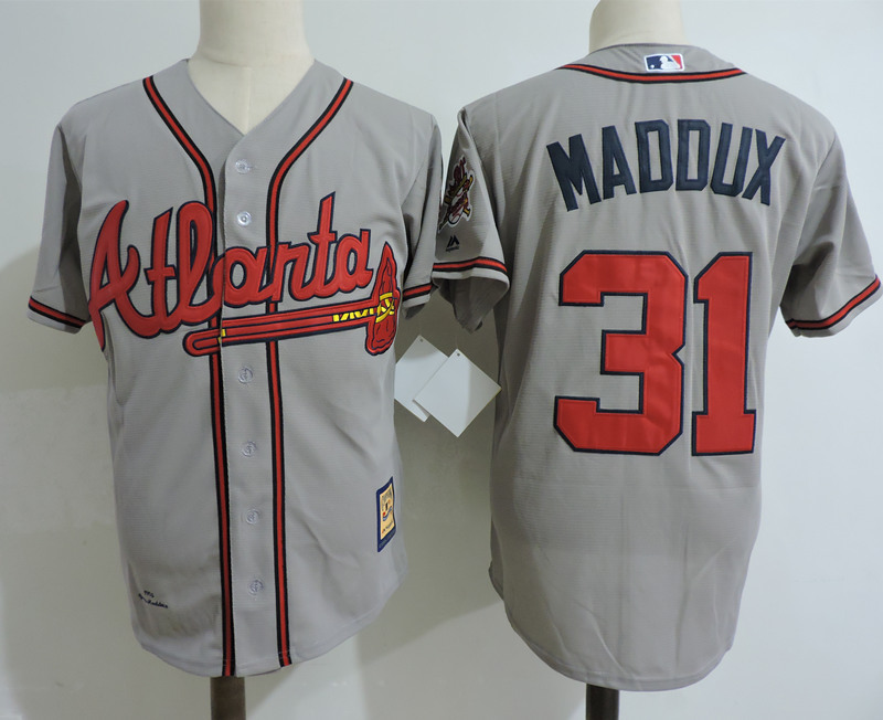 Men's Atlanta Braves #31 greg maddux gray jersey