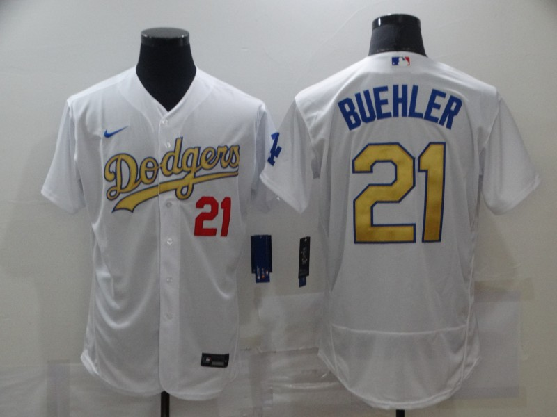Men's Los Angeles Dodgers #21 Walker Buehler 2020 White Gold Sttiched Nike MLB Jersey