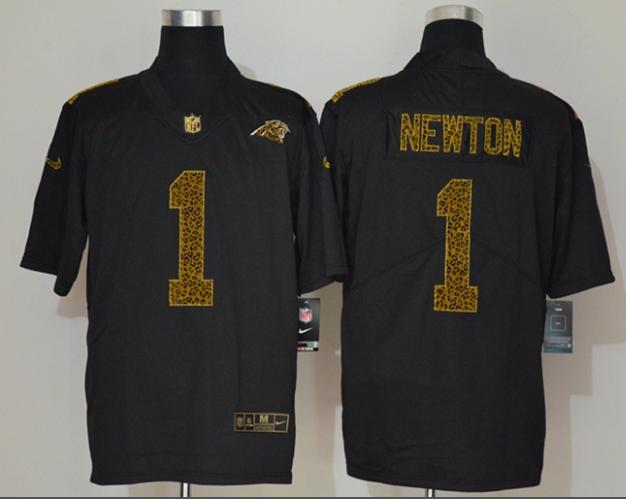 Men's Carolina Panthers #1 Cam Newton Black 2020 Nike Flocked Leopard Print Vapor Limited NFL Jersey