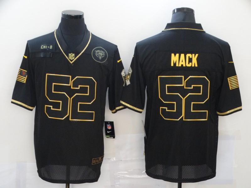 Men's Chicago Bears #52 Khalil Mack Black Gold 2020 Salute To Service Stitched NFL Nike Limited Jersey
