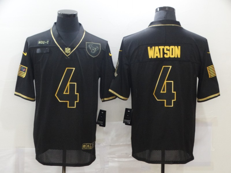 Men's Houston Texans #4 Deshaun Watson Black Gold 2020 Salute To Service Stitched NFL Nike Limited Jersey