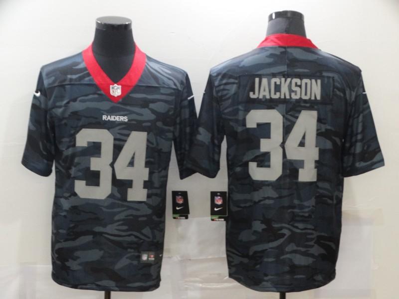 Men's Las Vegas Raiders #34 Bo Jackson 2020 Camo Limited Stitched Nike NFL Jersey