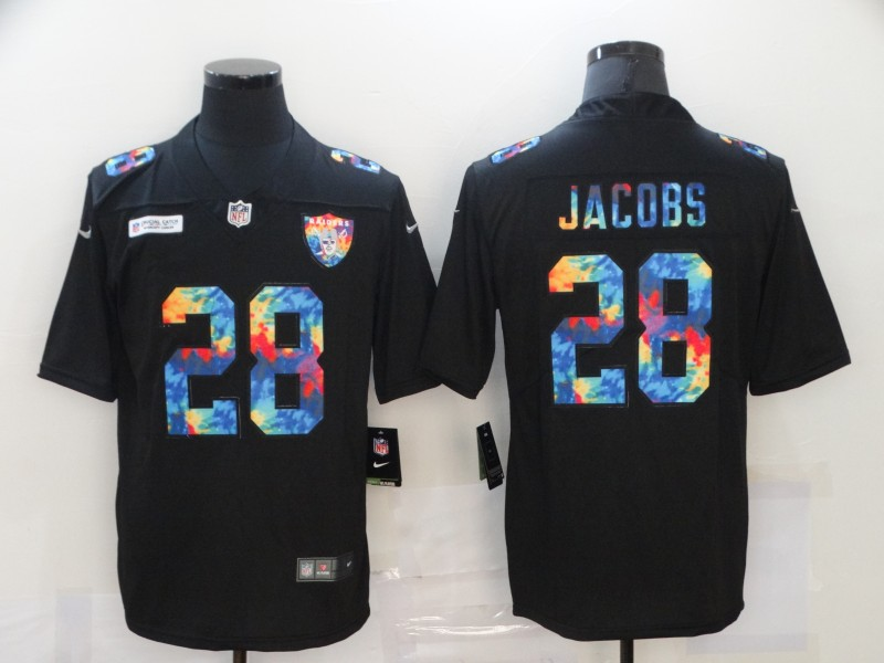 Men's Las Vegas Raiders #28 Josh Jacobs Multi-Color Black 2020 NFL Crucial Catch Vapor Untouchable Nike Limited Jersey