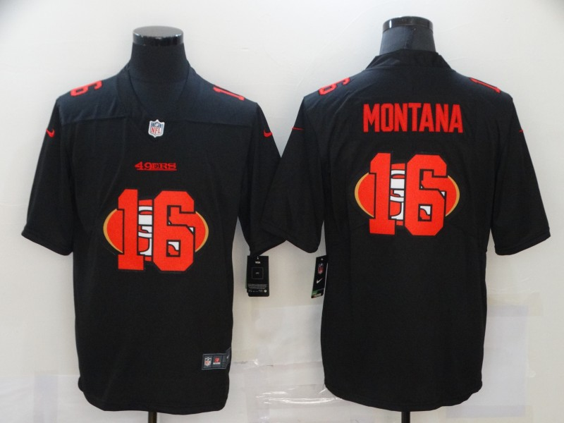 Men's San Francisco 49ers #16 Joe Montana Black 2020 Shadow Logo Vapor Untouchable Stitched NFL Nike Limited Jersey