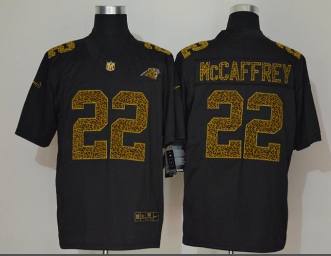 Men's Carolina Panthers #22 Christian McCaffrey Black 2020 Nike Flocked Leopard Print Vapor Limited NFL Jersey