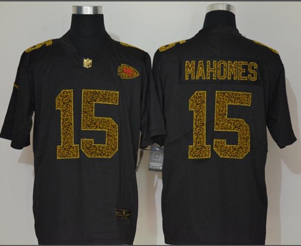 Men's Kansas City Chiefs #15 Patrick Mahomes Black 2020 Nike Flocked Leopard Print Vapor Limited NFL Jersey