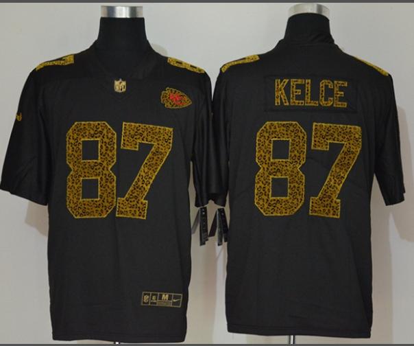 Men's Kansas City Chiefs #87 Travis Kelce Black 2020 Nike Flocked Leopard Print Vapor Limited NFL Jersey