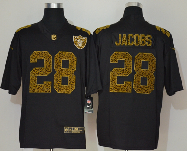 Men's Las Vegas Raiders #28 Josh Jacobs Black 2020 Nike Flocked Leopard Print Vapor Limited NFL Jersey