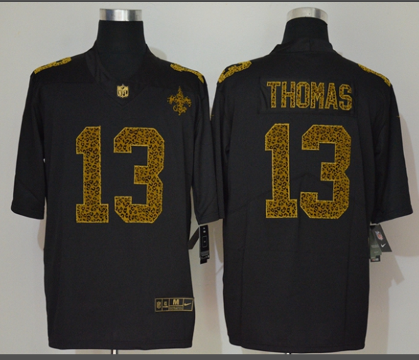 Men's New Orleans Saints #13 Michael Thomas Black 2020 Nike Flocked Leopard Print Vapor Limited NFL Jersey