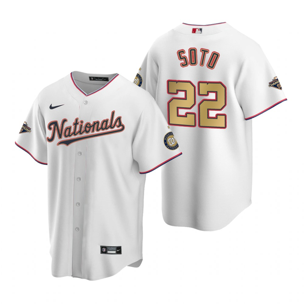Youth Washington Nationals #22 Juan Soto White Gold 2019 World Series Champions Stitched MLB Cool Base Nike Jersey