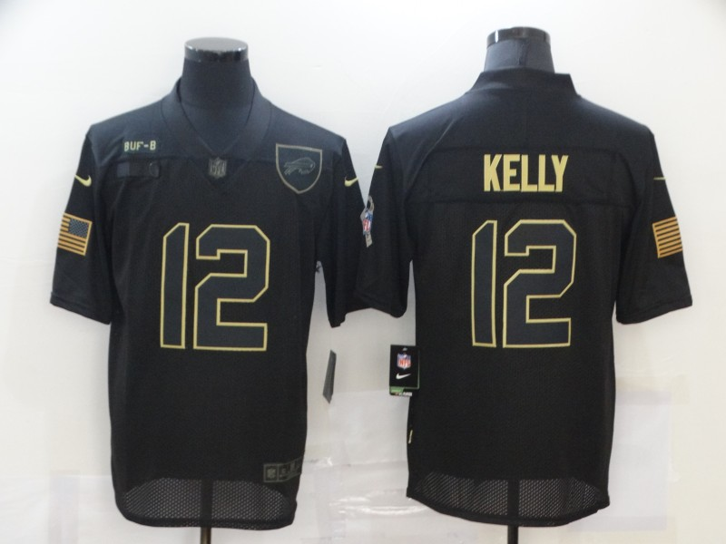 Men's Buffalo Bills #12 Jim Kelly Black 2020 Salute To Service Stitched NFL Nike Limited Jersey
