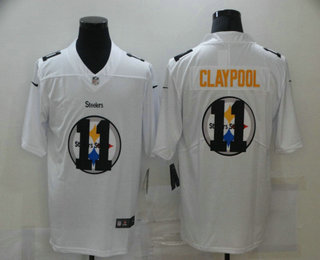 Men's Pittsburgh Steelers #11 Chase Claypool White 2020 Shadow Logo Vapor Untouchable Stitched NFL Nike Limited Jersey