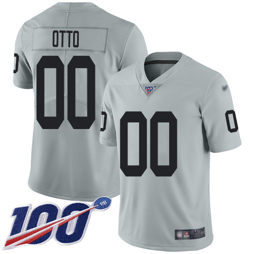 Men's Limited #00 Jim Otto Silver Jersey Inverted Legend Football Oakland Raiders 100th Season