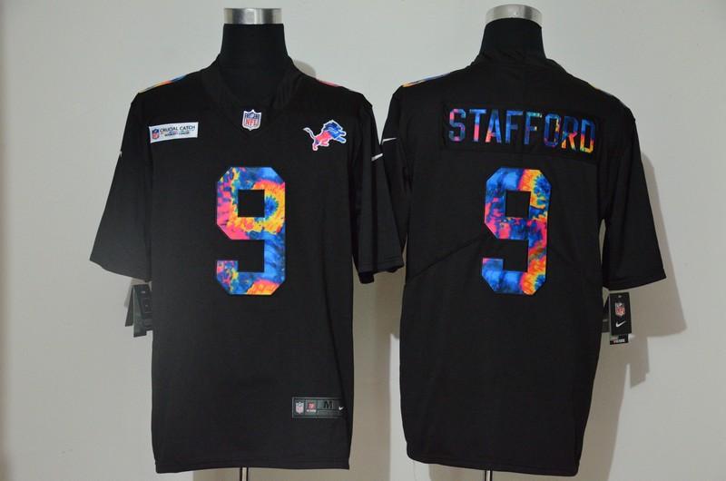 Men's Detroit Lions #9 Matthew Stafford Multi-Color Black 2020 NFL Crucial Catch Vapor Untouchable Nike Limited Jersey