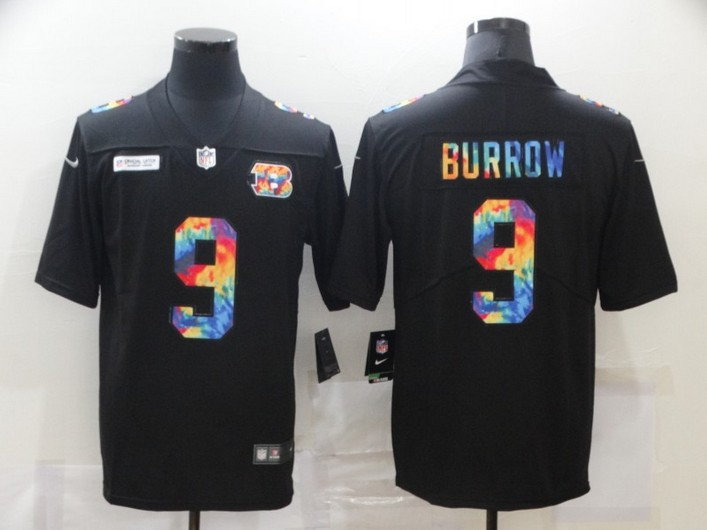 Men's Cincinnati Bengals #9 Joe Burrow Multi-Color Black 2020 NFL Crucial Catch Vapor Untouchable Nike Limited Jersey