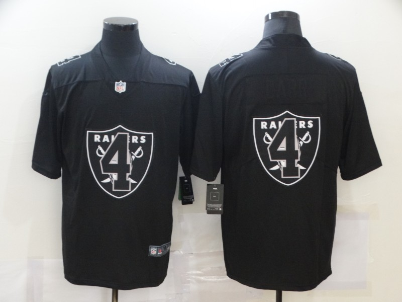 Men's Las Vegas Raiders #4 Derek Carr Black 2020 Shadow Logo Vapor Untouchable Stitched NFL Nike Limited Jersey