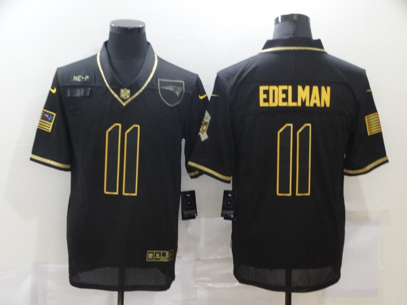 Men's New England Patriots #11 Julian Edelman Black Gold 2020 Salute To Service Stitched NFL Nike Limited Jersey