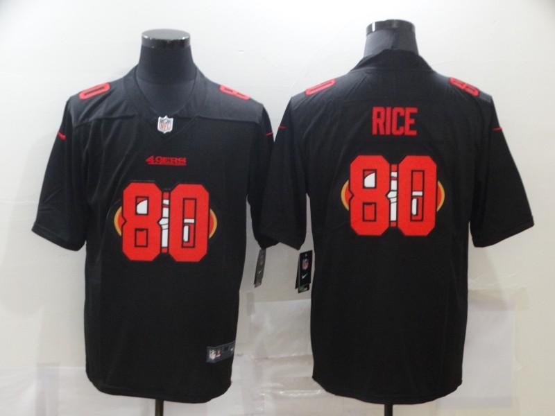 Men's San Francisco 49ers #80 Jerry Rice Black 2020 Shadow Logo Vapor Untouchable Stitched NFL Nike Limited Jersey