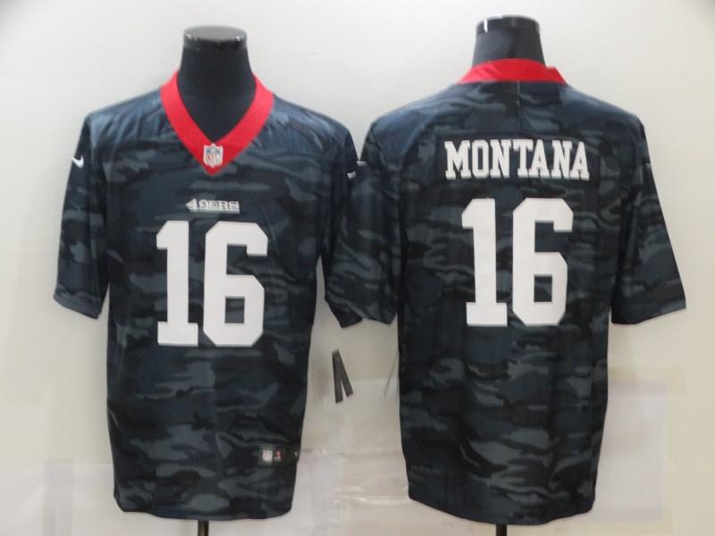 Men's San Francisco 49ers #16 Joe Montana 2020 Camo Limited Stitched Nike NFL Jersey